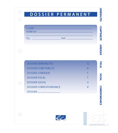Dossier de travail permanent version intercalaire