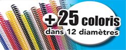 Spirales coil plastiques, plus de 25 coloris sur 12 diamètres