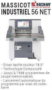 Le massicot 56 NET de Mohr dispose d'un écran tactile couleur 18,5 pouces, de la technologie CompuCut, d'une mémoire de 1998 programmes, du lancement automatoque du bon programme par scan de code-barre.