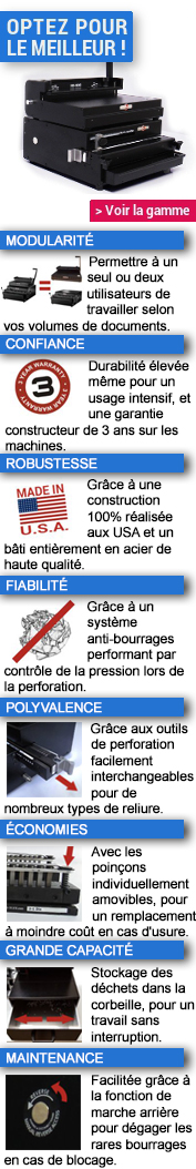 Relieuses professionnelles pour anneaux métalliques