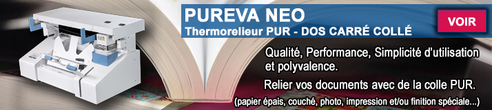 Thermorelieur PUREVA colle PUR dos carré collé