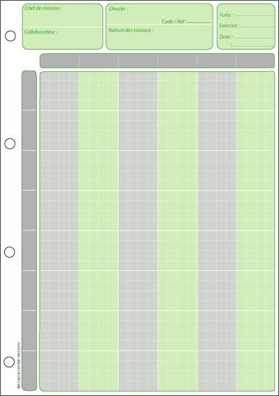 Chef de mission :  6 colonnes, 4 carreaux en 2 couleurs - Coloris : Vert et Gris