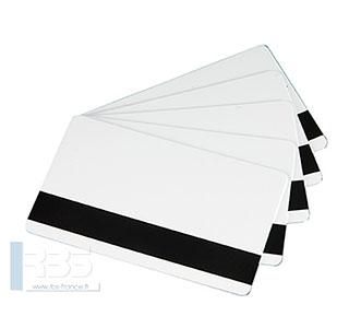Cartes PVC blanches avec bande magnétique MAG HICO 0.76 mm