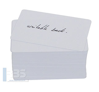 Cartes PVC blanches avec verso inscriptible 0.50 mm