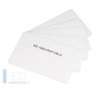 Cartes PVC blanches ré-inscriptibles (encre noire) 0.76 mm