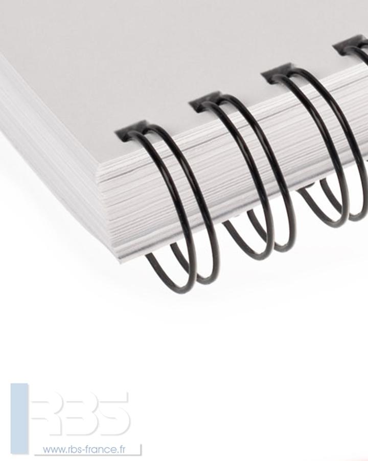 Anneaux métalliques 23 boucles pas 2:1 format A4 - Coloris : Noir