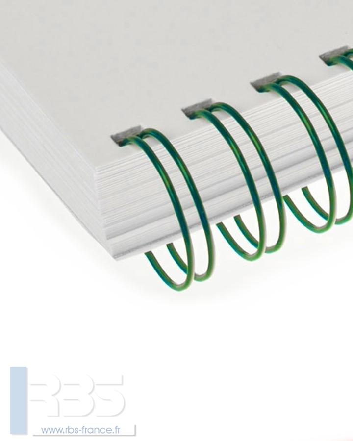 Anneaux métalliques 23 boucles pas 2:1 format A4 - Coloris : Vert