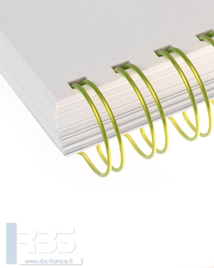 Anneaux métalliques 23 boucles pas 2:1 format A4 - Coloris : Jaune Fluorescent