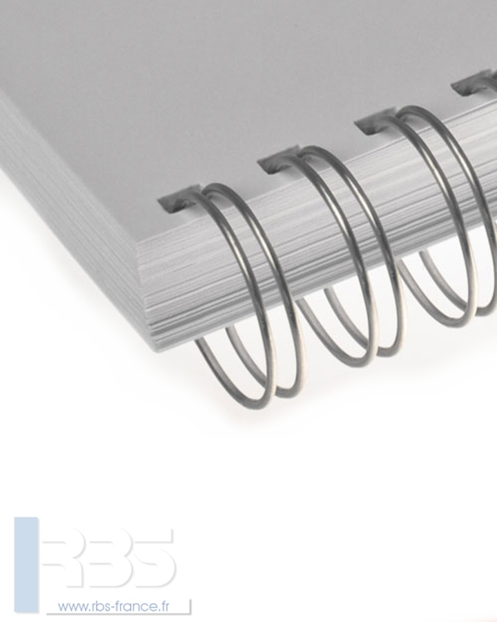 Anneaux métalliques 23 boucles pas 2:1 format A4 - Coloris : Argent Mat