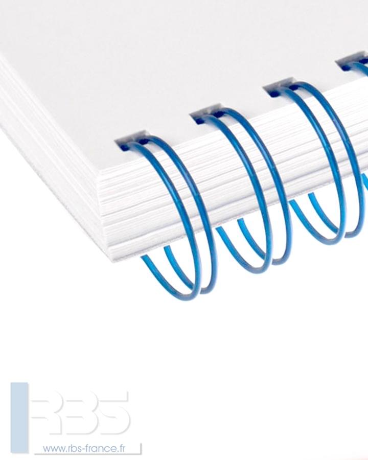 Anneaux métalliques 34 boucles pas 3:1 format A4 - Coloris : Bleu Metal