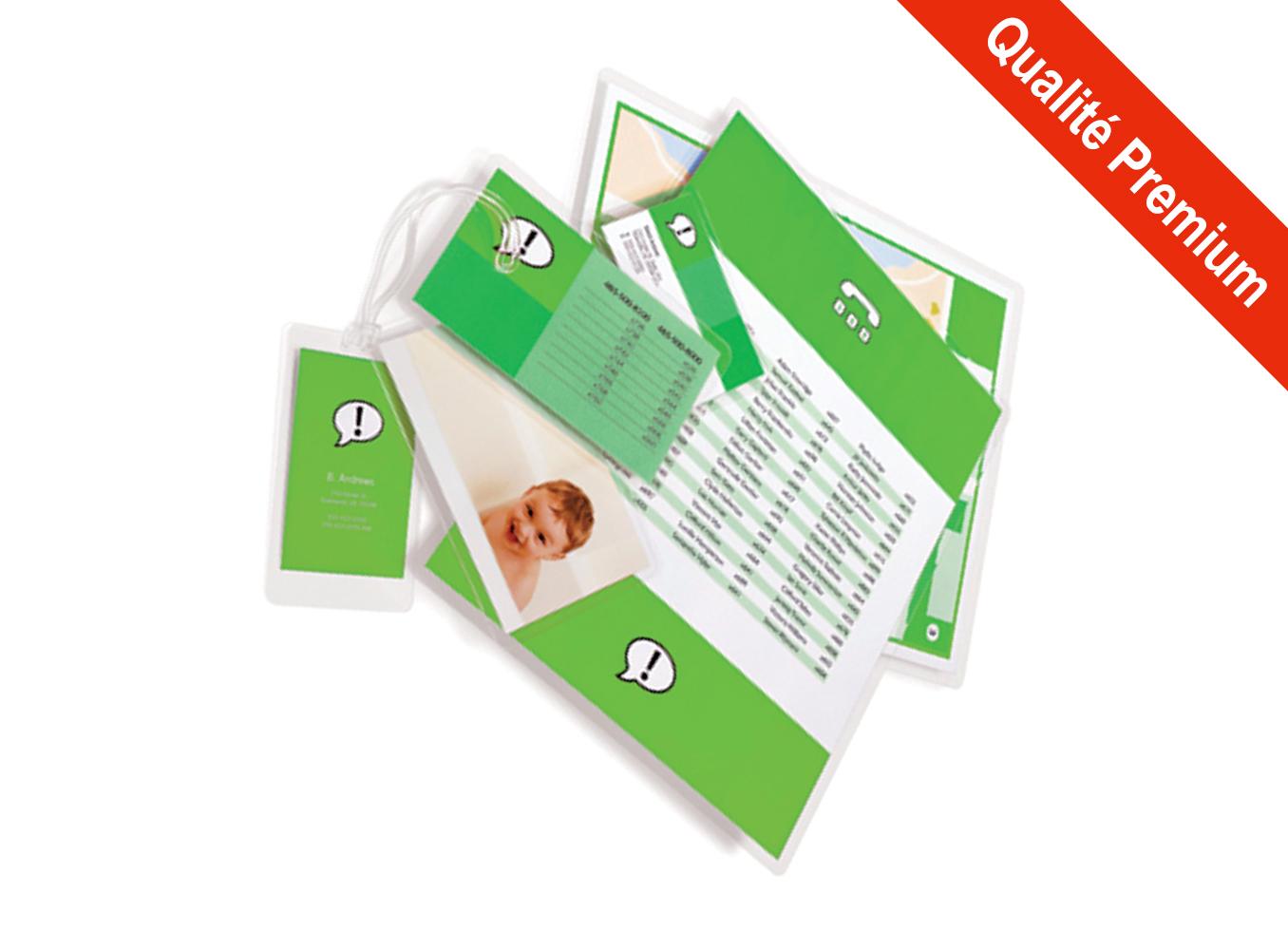 Pochettes finition Brillant - Format Spécial Badge - BAD - 60 x 90 mm - <span style='font-weight:bold; color:#E82C0C;'>Qualité Premium</span>
