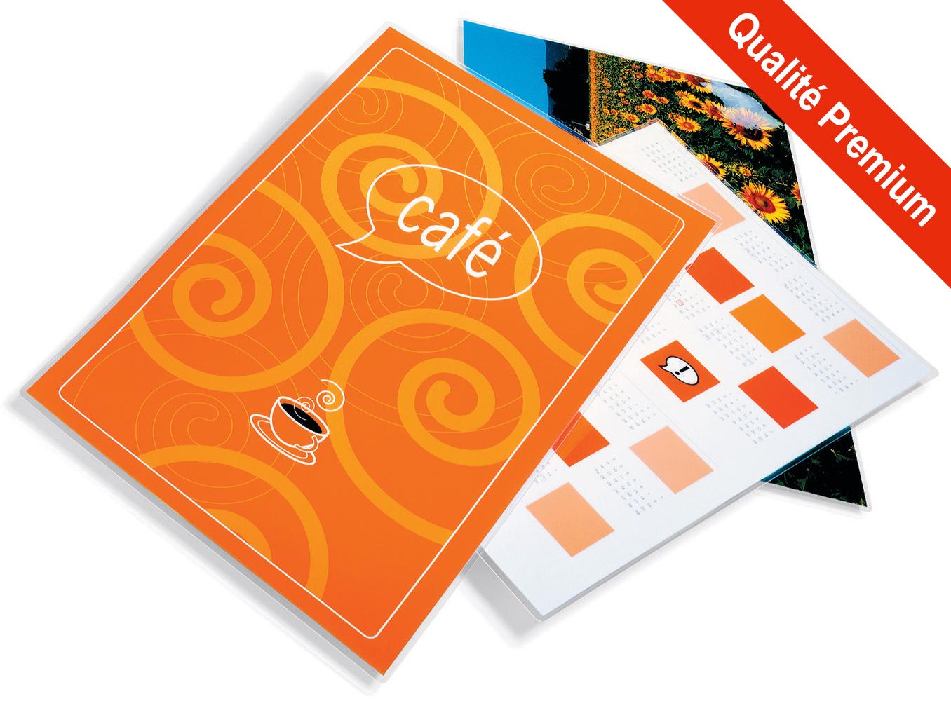 Pochettes finition Brillant - Format A4 - 303 x 216 mm - <span style='font-weight:bold; color:#E82C0C;'>Qualité Premium</span>