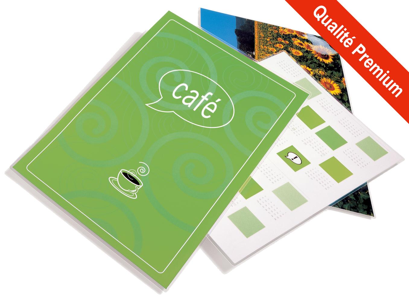 Pochettes finition Mat - Format A4 - 303 x 216 mm - <span style='font-weight:bold; color:#E82C0C;'>Qualité Premium</span>